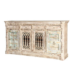 "Palazzo 85"" Cathedral Door Solid Wood 4-Drawer Rustic Buffet Sideboard"