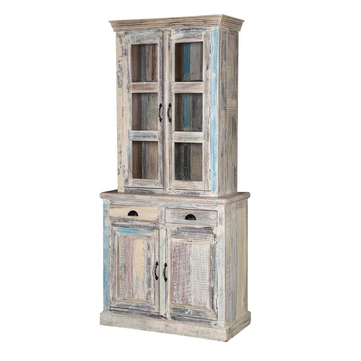 "Palazzo 83"" White and Blue Rustic Solid Wood Dining Hutch Cabinet"