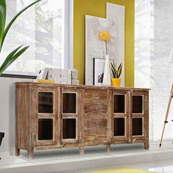 "Palazzo 71"" Rustic Buffet Glass Panel 4-Door Sideboard Cabinet"