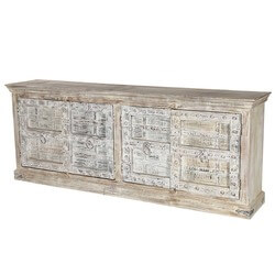 "Winter White Gothic Gates Mango & Reclaimed Wood 90"" Sideboard"