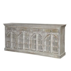 "Winter White Cathedral Mango Wood 85"" Sideboard Cabinet"