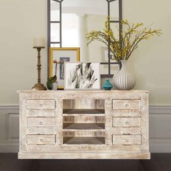 Winter White Tapestry Mango Wood Open Shelf Cabinet