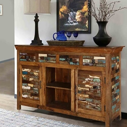 "Tangier 60"" Mosaic 4-Drawer Solid Wood Accent Cabinet"