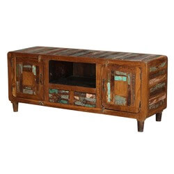 "Tangier 59"" Mosaic 2-Door Solid Wood Rustic Media Console Furniture"