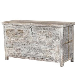 "Winter White 22"" Reclaimed and Mango Wood Storage Trunk"