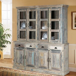 Country Kitchen Winter White Reclaimed Wood Breakfront Hutch Sideboard