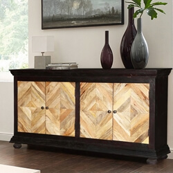 Parquet Diamond Doors Mango Wood Sideboard Cabinet