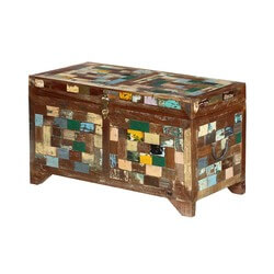 Rustic Colors Reclaimed Wood Standing Storage Trunk