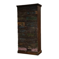 Rustic Wooden Mosaic Mango & Reclaimed Wood Armoire