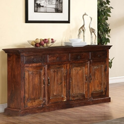 "Willamette 69"" Dark Brown Rustic Farmhouse Buffet Storage Sideboard"