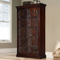 "Willamette 36"" Dark Brown Rustic 2-Door Armoire Storage Cabinet"