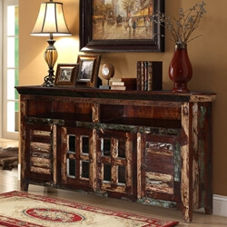 "Turquoise Trail 65"" Reclaimed Wood Buffet Sideboard Cabinet"