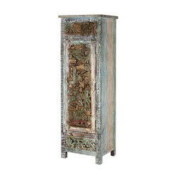 "Tangier 58"" Rustic Wooden Mosaic Inlay Armoire Dresser Cabinet"