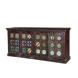 "Tangier 81"" Tile Medallion 4-Door Buffet Sideboard Cabinet"