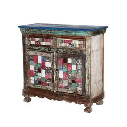 "Tangier 36.5"" Mosaic Multi-colored 2-Door 2-Drawer Buffet Sideboard"