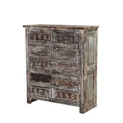 Salt & Pepper Hand Carved Reclaimed Wood 10 Drawer Dresser