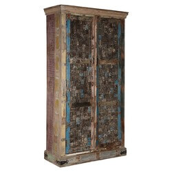 "Wooden Mosaic Reclaimed Wood 77"" Double Door Wardrobe"