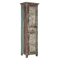 "Carved Wooden Mosaic Reclaimed Wood 71"" Narrow Armoire"