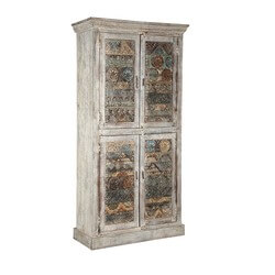 "Distressed Finished 71"" Tall 4 Door Rustic Solid Wood Armoire"