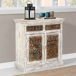 "Classic Reclaimed 35"" Carved Front Doors Solid Wood Storage Credenza"