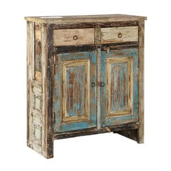 Rustic Farmhouse Reclaimed Wood Freestanding 2-Drawer Storage Cabinet