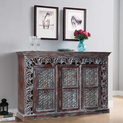 "Turquoise Trail 61"" Frosted Blue Rustic 3-Door Buffet Sideboard"