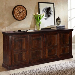 "Willamette 88"" 4-Door Rustic Dark Wood 4-Shelf Buffet Sideboard"
