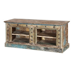 "Turquoise Trail 53"" Western Spur Rustic Reclaimed Wood Media Console"
