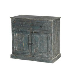 Rustic Green Traditional Farmhouse Mango Wood Buffet Cabinet