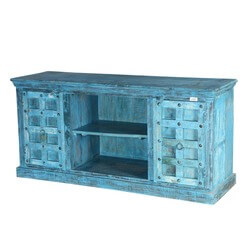 Sky Blue Rustic Mango & Reclaimed Wood TV Media Console Furniture