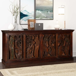 Artisan Carvings Mango & Reclaimed Wood Sideboard Cabinet