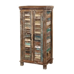 "Turquoise Trail 48"" 2-Door Rustic Shutter Slat Armoire Dresser Tower"
