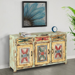 "Tangier 53"" Rustic Light Green 3-Door 3-Drawer Buffet Sideboard"