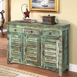 Turquoise Trail Light Green Slat Design 3-Door Buffet Accent Cabinet