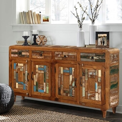Turquoise Trail 4-Door Mosaic Inlay Buffet Sideboard Accent Cabinet