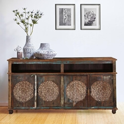 "Tangier 74"" Dahlia Flower Design 4-Door Buffet Sideboard Cabinet"