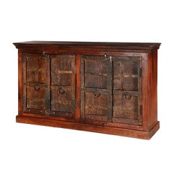 "Willamette 65"" Dark Brown Rustic 4-Door Accent Buffet Sideboard Cabinet"