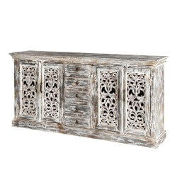 "Chartres 71"" White 4-Door Filigree Design 5 Drawer Accent Buffet"