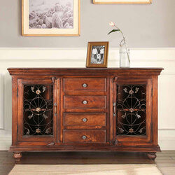 "Willamette 57"" Grapevine 4-Drawer Accent Buffet Sideboard Cabinet"