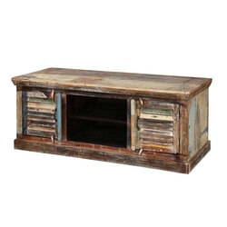 North Carolina Pastel Distressed Finished Solid Wood Media Console