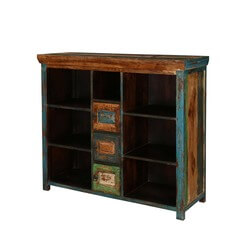 Mexico Bright 7 shelves 3 Small Cabinets Mango Wood Buffet Cabinet