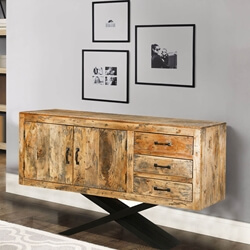 Elion Mango Wood 3-Drawer Rustic Storage Cabinet