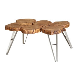 Live Edge Laura Wooden Large Coffee Table with Iron Legs