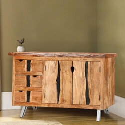 Saturn 3-Drawer Acacia Wood Live Edge Sideboard Cabinet