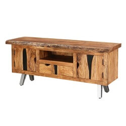 Norma wooden media console with drawers and shelves