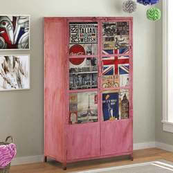 Retro Handcrafted Mango Wood Four Door Storage Cabinet with Shelves