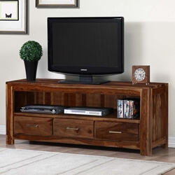 Audrey Solid Wood Handcrafted Media Console With Drawers