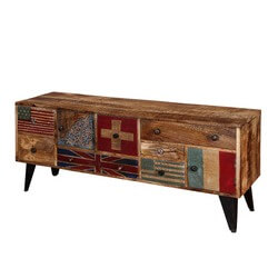 Flag Patches Mango Wood Standing TV Console Accent Media Cabinet