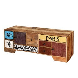 Paris Patches Mango Wood TV Console Accent Storage Cabinet