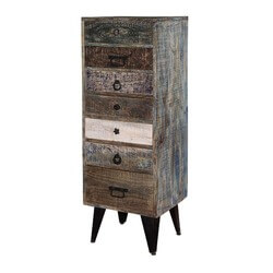 "Chicago 7 Drawer Distress 48"" Tall Mango Wood & Iron Accent Chest"